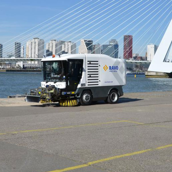 White Ravo 5-iSeries Street Sweeper Along Port