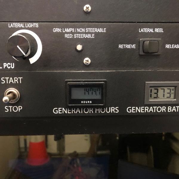 Inside Shot of CUES Hi-Cube Camera Truck's Generator Hours