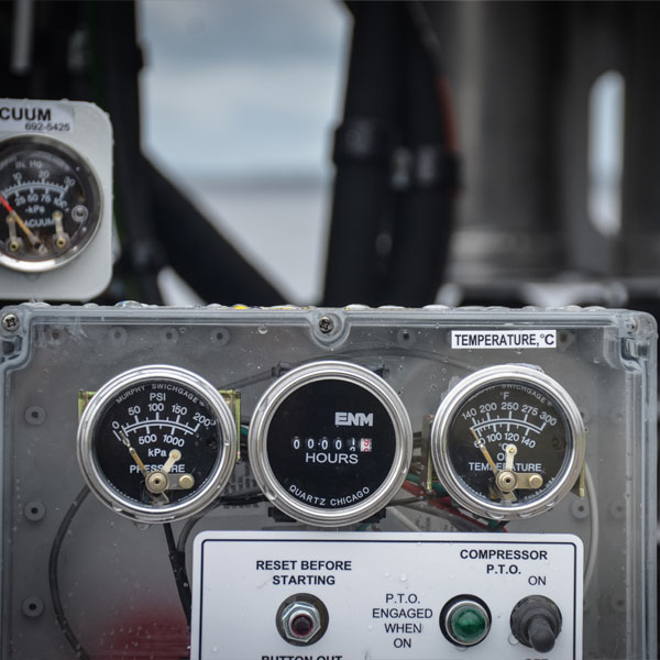 View of Gauges on Vac-Con X-Cavator Truck
