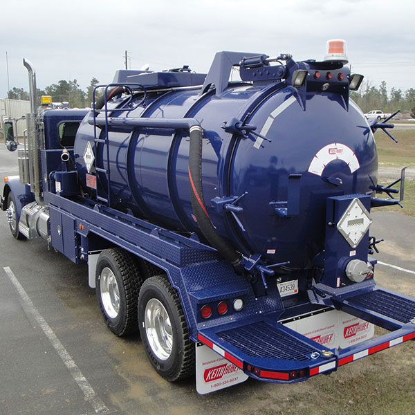 Rear View of Keith Huber Dominator Vacuum Truck