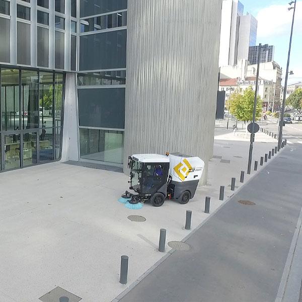 Mathieu MC110 Street Sweeper Cleaning Sidewalk