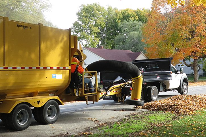 Leaf Vacuum Truck in Use